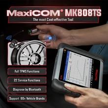 Autel MaxiCOM MK808TS السيارات OBD2 تشخيص أداة ماسح الرادار الخاص بالسيارة TPMS خدمة البرمجة الاستشعار و بلوتوث PK MK808 MS906TS