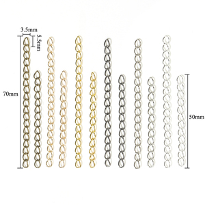 100pcs/lot Necklace 5cm Extension Chain Bulk Bracelet Extended Chains Tail Extender For DIY Jewelry Making Findings Wholesale