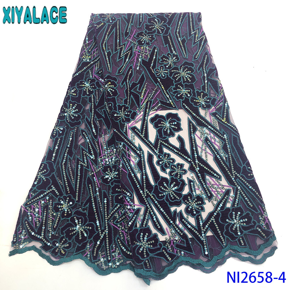 2019 High Quality French Lace Fabric New Velvet Fabric With Sequins Laces For Asoebi Dresses  Nigerian Fabric 5yds KSNI2658