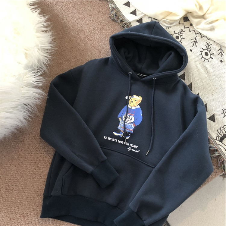 Korean-style Plus Velvet Hooded Tops Ralph Bear Cartoon Printed Loose-Fit Casual By Age Laziness-Style Thick Hoodie Hoodie