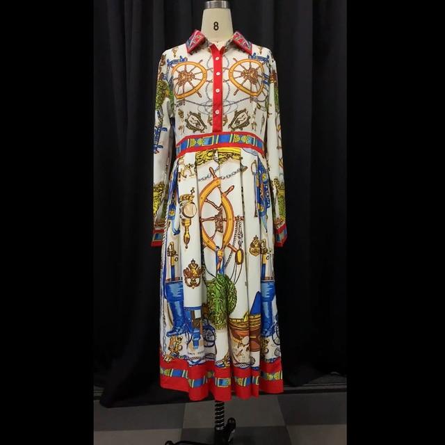 Summer Fall Lapel Mid-Calf High Waist Dress Big Plus Size Elegant Office Ladies Tunic 4