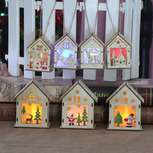 Christmas decoration luminous wooden house hotel tree Childrens handmade DIY hanging pieces