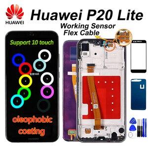 Image 1 - 10 タッチ Huawei 社 P20 Lite Lcd ディスプレイタッチスクリーン Dizigiter アセンブリフレーム Huawei 社 P20 Lite ANE LX1 ANE LX3 ノヴァ 3e 液晶