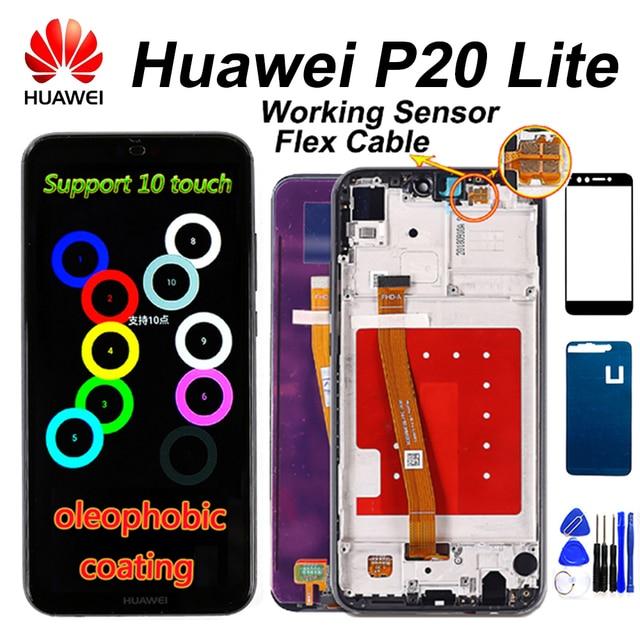 10 タッチ Huawei 社 P20 Lite Lcd ディスプレイタッチスクリーン Dizigiter アセンブリフレーム Huawei 社 P20 Lite ANE LX1 ANE LX3 ノヴァ 3e 液晶