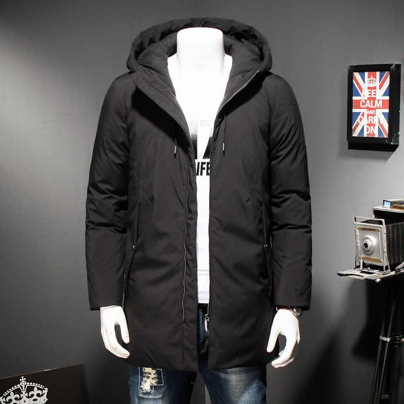 Più Il Formato 8XL Inverno Anatra Imbottiture Giubbotti per Gli Uomini di Moda Casual Mens Ispessimento con Cappuccio Nero Cappotto Lungo Sezione Imbottiture Uomini giacca