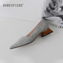 ROBESPIERE Casual Women Pumps Quality Genuine Leather Strange Style Low Heels Shoes Concise Pointed Toe Shallow Ladies Pumps A18 isnom cow leather high heels women pumps spring fashion ladies office shoes stitching strange style square toe shallow footwear