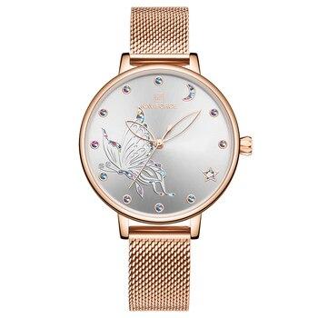 NAVIFORCE Luxury Crystal Watch Women Top Brand Rose Gold Steel Mesh Ladies Wrist Watches Bracelet Girl Clock Relogio Feminino 8