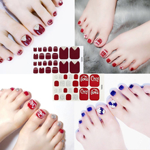 1 Sheet Korean Sticker Full Cover Toe Nail Art Glitter Stickers Stripe Red Tips Sparkling Foot Decals Environmental Manicure