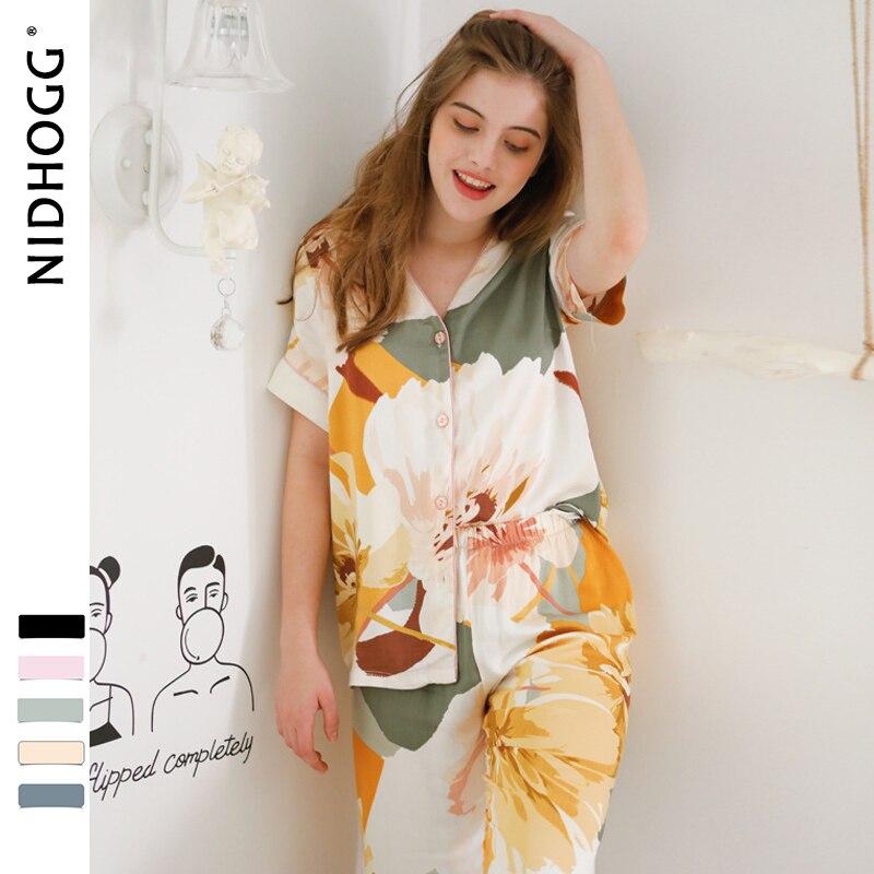 Women Korean V neck Ink Printing Short Sleeve Pants Pajamas Loungewear Viscose Sleepwear Sexy Satin Pijama 2 Set Sleep ClothingPajama Sets   -