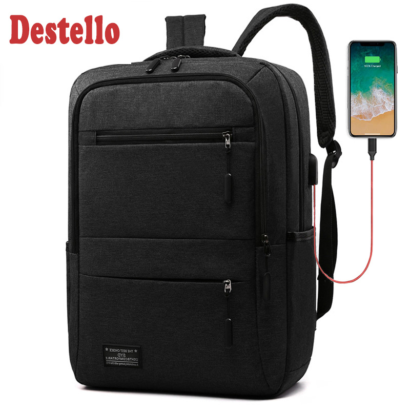 New 15.6 Inch Men Laptop Backpack Business Backpack Usb Charging Computer Backpacks Travel Large Capacity Nylon Men Bag