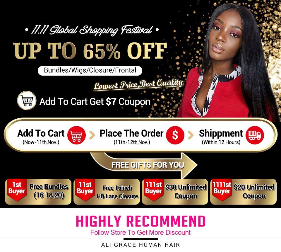 H2daac6fb84eb4edf966cbb62c22c1909H Ali Grace Straight Hair Bundles With Frontal 13*4 Medium Brown Lace Color Remy Brazilian Human Hair Bundles With Frontal