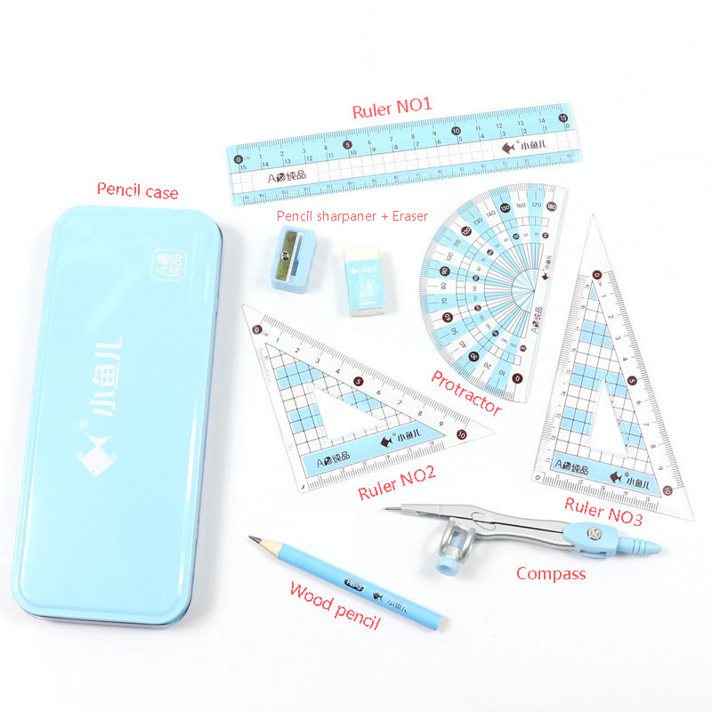 Cost Effective Ruler Set Metal Case Set Of Drafting Rules Package Includes Compass&Ruler&Pencil Sharpener Drafting Supplies