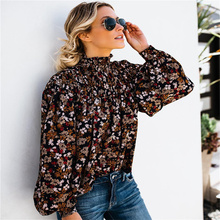 2019 vintage Boho blouse Women Shirt Top Floral Print Long Sleeve Button Bow Ruffles High collar Casual High Street Shirt floral print button decoration top