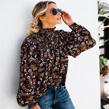 цена на 2019 vintage Boho blouse Women Shirt Top Floral Print Long Sleeve Button Bow Ruffles High collar Casual High Street Shirt