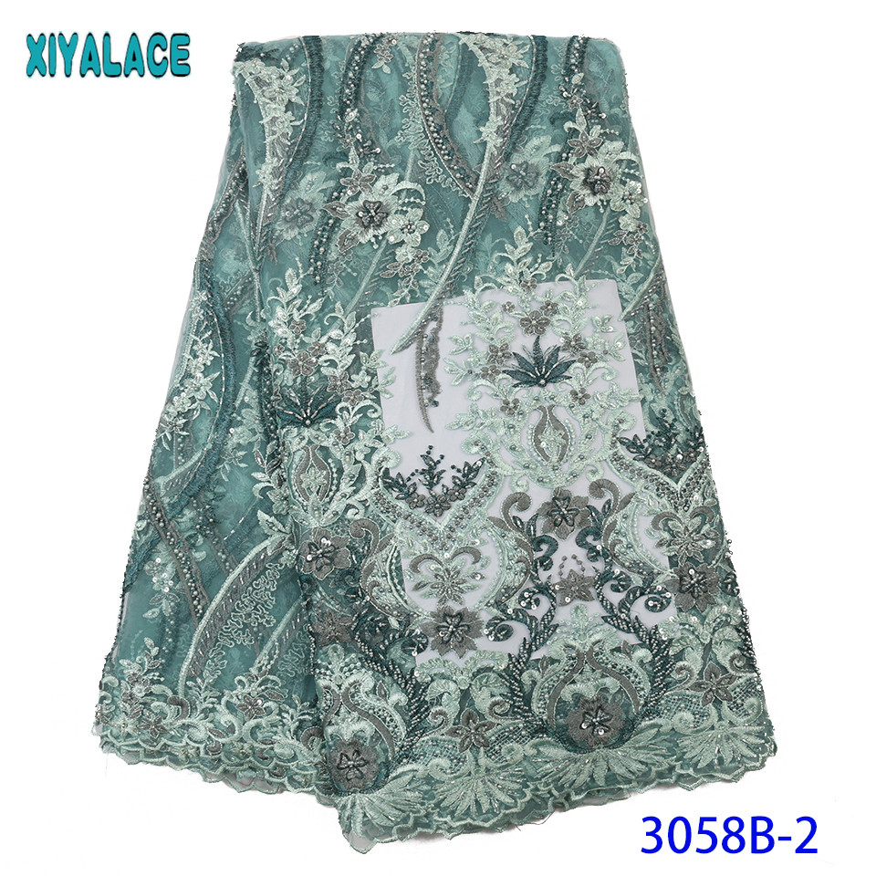 Latest African Laces Fabric Hot Sale French Handmade Beaded Lace Fabric Nigerian Luxury Laces With Beads KS3058B