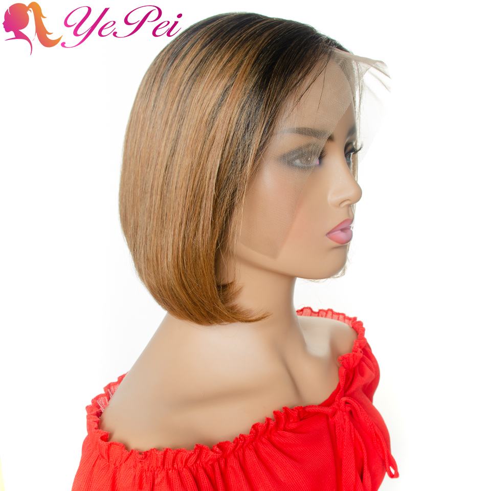13x4 Lace Front Short Bob Wig Pixie Cut Wigs Brazilian Straight Human Hair Wigs 130% Density Ombre Honey Blonde Human Hair Wig