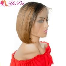 Peruca cabelo curto, 13x4 perucas frontal renda cabelo pixie, cabelo brasileiro liso, cabelo humano 130% densidade ombre, mel peruca de cabelo humano loiro
