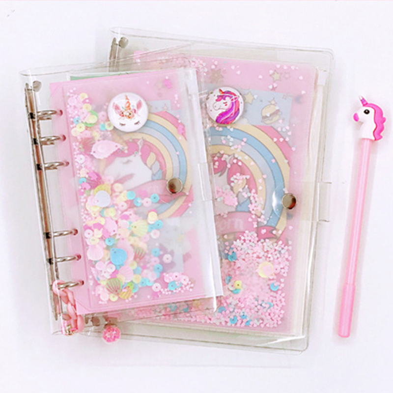 A5 A6 Sequins Notebook Cover Unicorn Loose Leaf PVC Shell Transparent Glitter Spiral Binder Diary Folder Set Office DIY Journal image