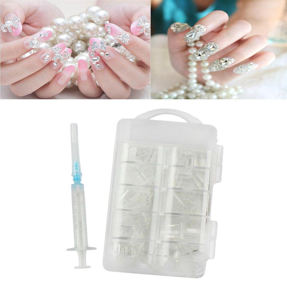 New Nail Water Injection Artificial Hollow Fake Nail Stick Design Nails Inject 100Pcs Fake Nails 1Pc
