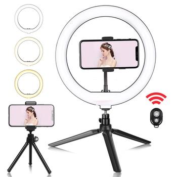 10-дюймовый мини селфи светодиодный светильник для видеосъемки с настольным штативом для телефона YouTube Live Tiktok Фотостудия