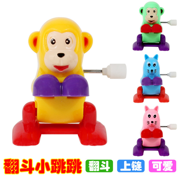 Strange New Small Toy On Sleeves Jumping Spring Cartoon Animal Temple Fair Stall Toy