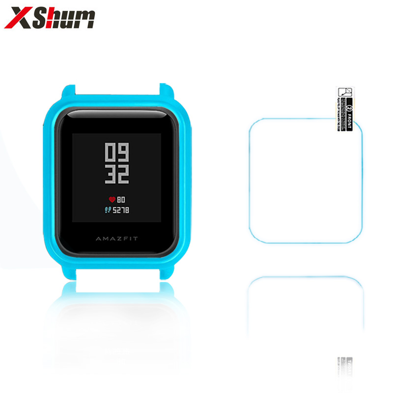 XShum Amazfit Bip Case Protector For Xiaomi Amazfit Bip Accessories Bumper TPU Glass Screen Protection Protective Shell Case