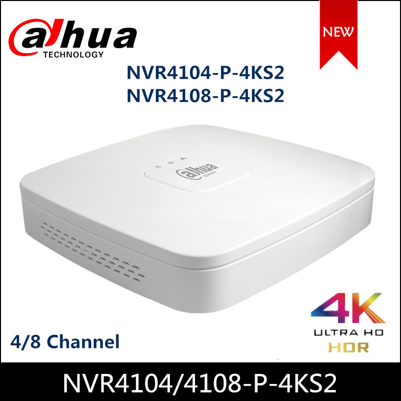 Dahua POE NVR NVR4104-P-4KS2 NVR4108-P-4KS2 4 8 Channel Smart 1U 4PoE 4K amp H 265 Lite Network Video Recorder