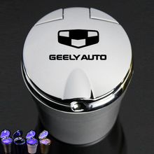 Car Logo Ashtray With Led Light For Geely Atlas Boyue NL3 Emgrand X7 EmgrarandX7 EX7 SUV GT GC9 Borui Coolray Car Accessories