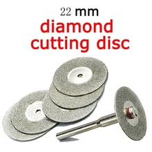 6PCS Set Emery Diamond cutting blades Drill Bit 22mm +1 Mandrel for Dremel Tile Cleaner Beauty Stitch Cutting Discs Home Tool