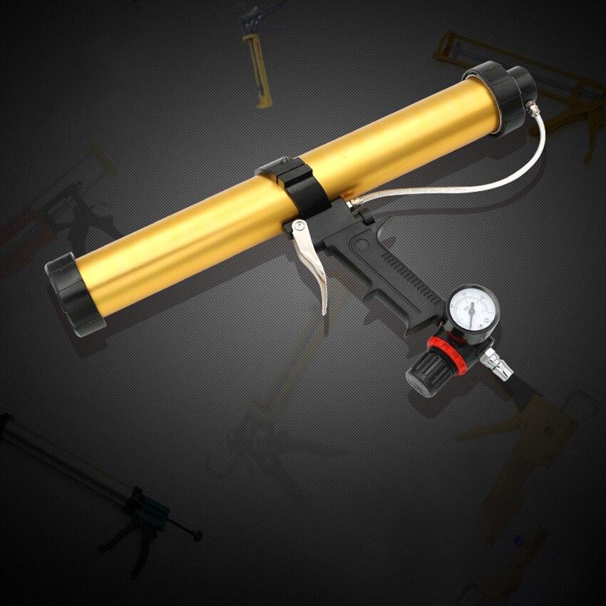600ml Pneumatic Glass Glue Gun With Air Pressure Regulating Valve, Plastic Handle Air Power Caulking Gun Cartridge Applicator