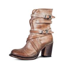 2019 New Designer Vintage buty zimowe damskie buty luksusowe buty do połowy łydki buty na platformie wysokie obcasy damskie botki PU skórzane buty tanie tanio Ylqp Pasuje prawda na wymiar weź swój normalny rozmiar Okrągły nosek Zima Stałe Plac heel Buty motocyklowe RUBBER