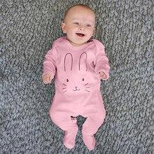 Детский комбинезон для новорожденных маленьких девочек и мальчиков, комбинезон с длинными рукавами и рисунком кролика, комбинезон для малышей, Menina, Детский комбинезон для новорожденных