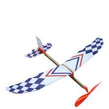 Crianças amor interessante elástico borracha banda avião alimentado diy espuma avião modelo kit avião para o presente do miúdo brinquedo