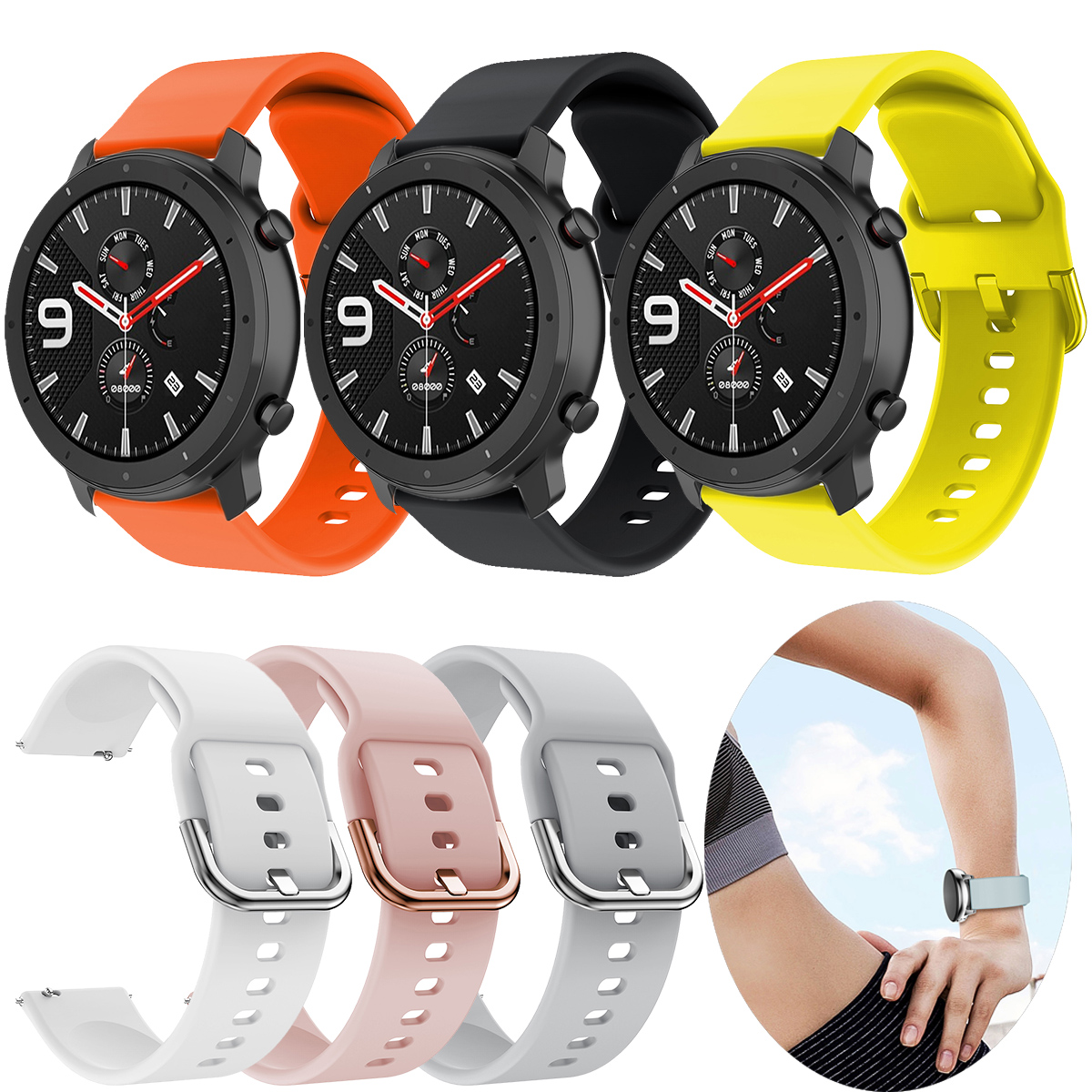20 22mm Silicone Replacement <font><b>Watch</b></font> Strap For Xiaomi Huami Amazfit GTR/Bip/GTS/Stratos 3/<font><b>Huawei</b></font> <font><b>GT</b></font> <font><b>Watch</b></font> <font><b>2</b></font> Smart Accessories image