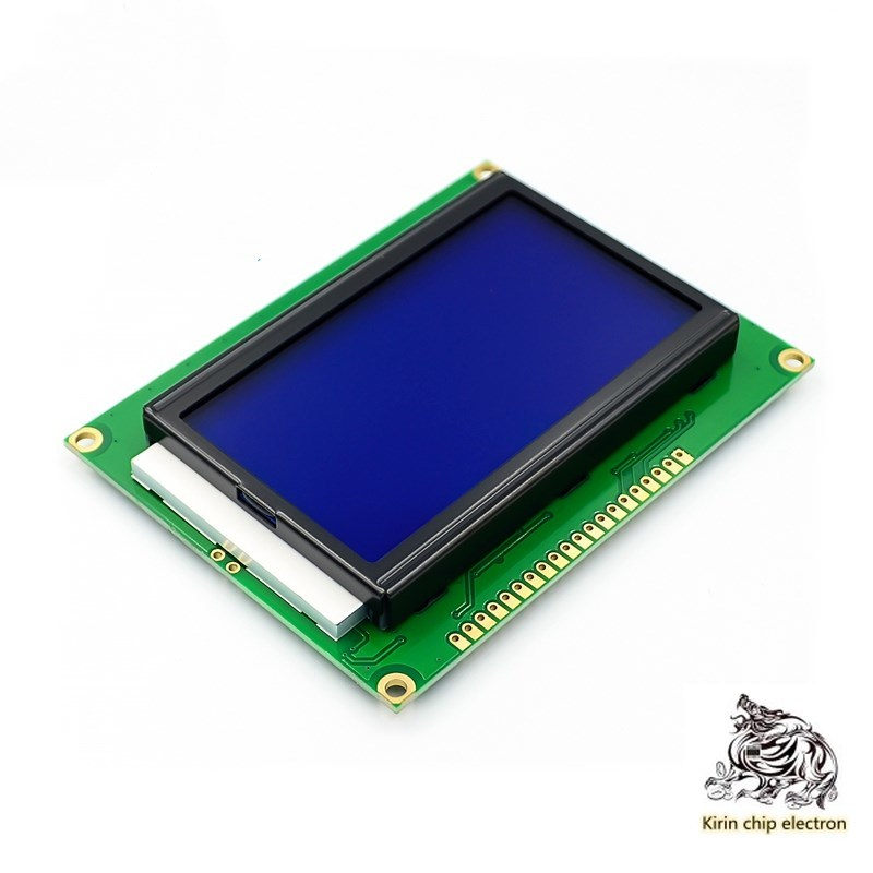 4 unids/lote pantalla azul LCD12864 pantalla LCD retroiluminación 12864-5V puerto paralelo puerto serie Kit de alarma para cocina, DETECTOR de GAS por voz, alarma independiente para la UE, pantalla LCD Natural, SENSOR de fugas de GAS con alarma