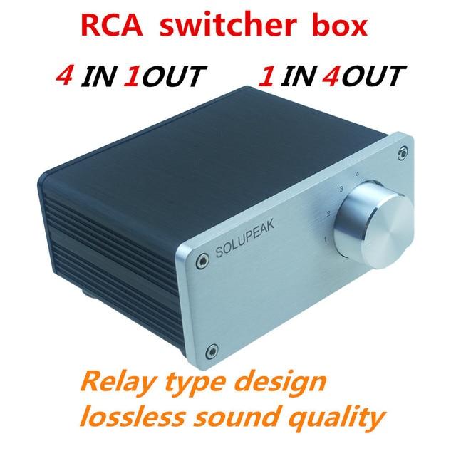 4 (1) 1(4)OUT 4 WAY อินพุตเสียง RCA สายตัวเลือก Splitter Switcher สวิทช์ schalter แหล่งตัวเชื่อมต่อผู้จัดจำหน่ายกล่อง