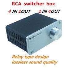4 (1)IN 1(4) AUS 4 weg audio EINGANG RCA signal kabel splitter selector switcher schalter schalter Quelle stecker Distributor box