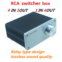 4 (1)IN 1(4)OUT 4 way audio INPUT RCA signal cable splitter selector switcher switch schalter Source connector Distributor box