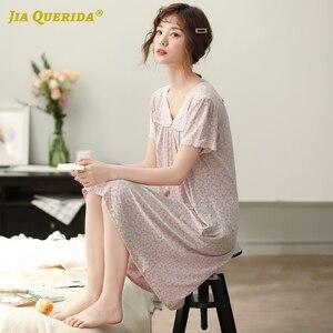 Image 2 - כותנה חדש אלגנטי נשים חלוק כתונת לילה נייטי קצר שרוול לילה שמלת Nightwear V צוואר גבירותיי בית שמלת שינה חולצה