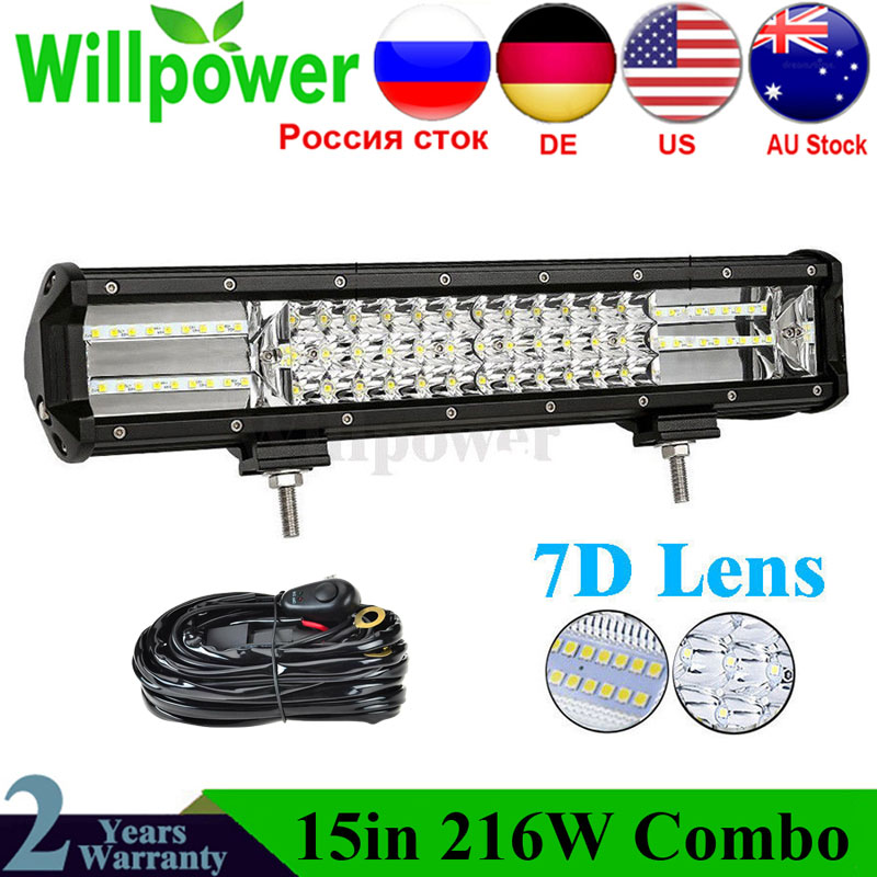 15000LMs CE Rohs 4x4 Offroad Combo Beam Offroad Car 12 Inch 216W Truck Led Work Light Bar 7D