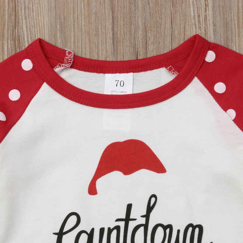 2019 dla dzieci wiosna jesień odzież dla dzieci boże narodzenie maluch dziecko dziecko dziewczyna Polka Dot potargane z długim rękawem koszulka bawełniana Top ubrania 0- 5T