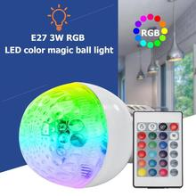 RGB Light Bulb E27 85-265V 3W LED Color Dimmable Magic Stage Light w/Remote Control Bulb Tubes 2019 zweihnde rgbxl12 gu10 3w 150lm rgb light led spotlight w remote controller silver 85 265v