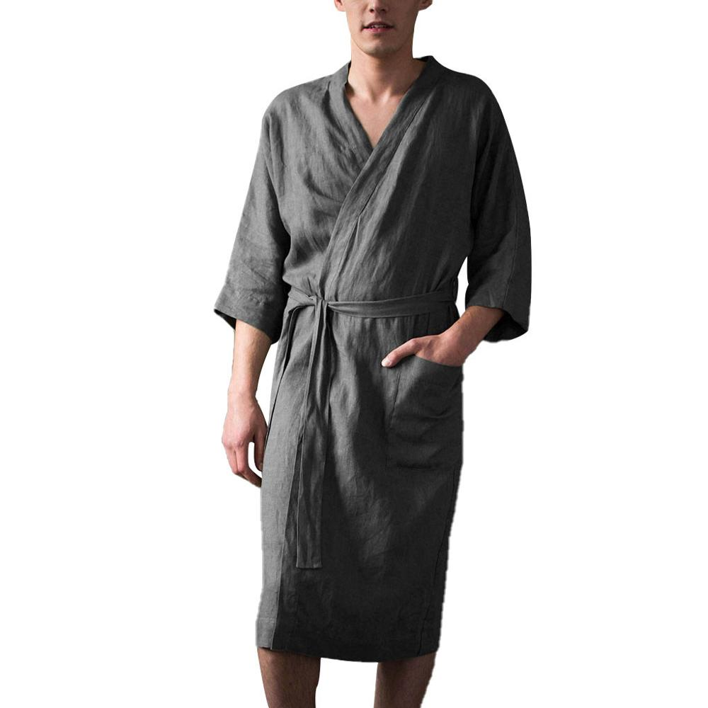 Plus Size Men's Half Sleeve Long Bathrobe Home Clothes With Pocket Solid Color Cotton Linen Pajamas Robe For Male Sleepwear