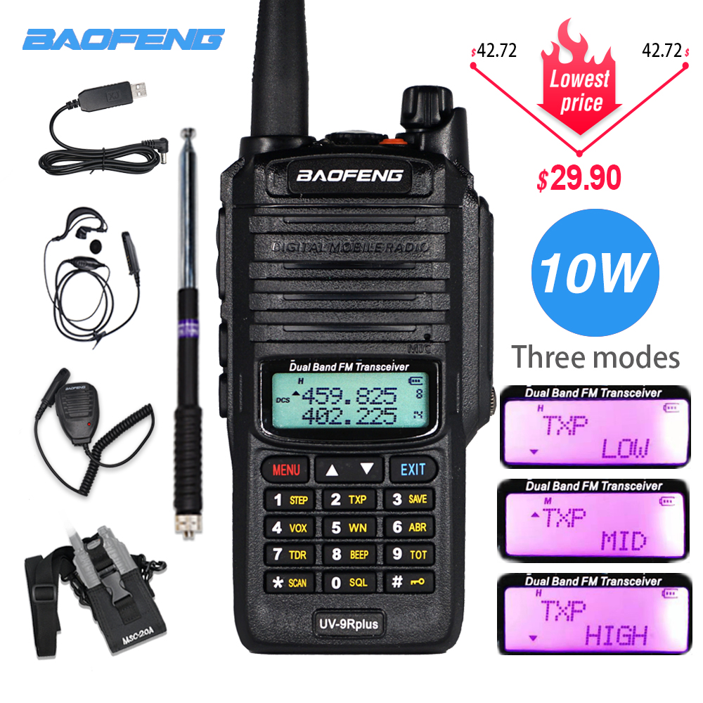 Powerful 10W Baofeng UV-9R Plus Walkie Talkie UV9R Portable CB Ham Radio 9rhp Dual Band Hf Transceiver 4800mAh Two Way Radios