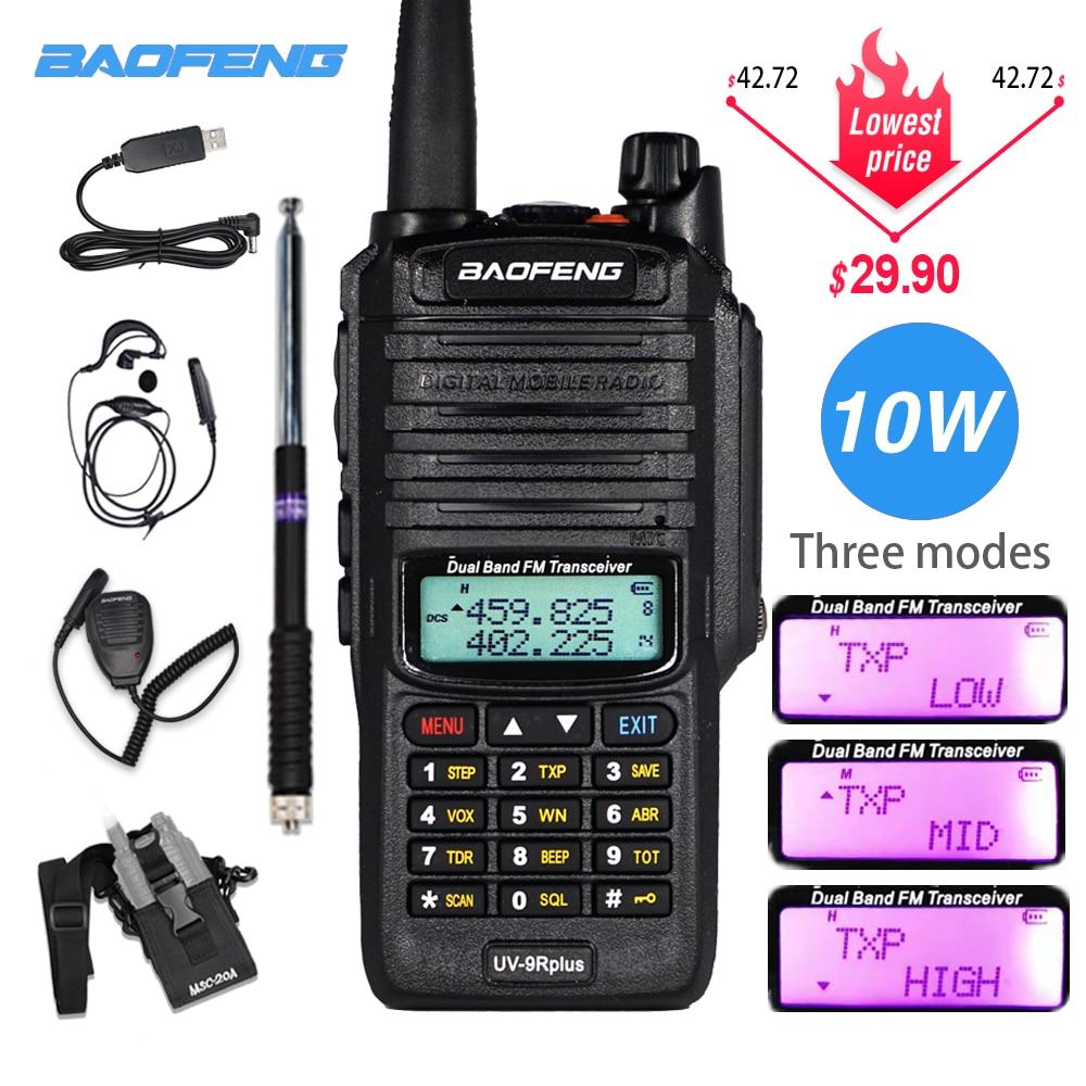 Powerful 10W Baofeng UV-9R Plus Walkie Talkie UV9R Portable CB Ham Radio 9rhp Dual Band Hf Transceiver 4800mAh Two Way Radios
