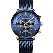 Męskie zegarki Top marka luksusowe ze stali nierdzewnej niebieski wodoodporny zegarek kwarcowy mężczyźni moda Chronograph mężczyzna Bussiness Casual zegarki tanie tanio SAMCO 22cm Moda casual QUARTZ NONE 3Bar Składane bezpieczne zapięcie CN (pochodzenie) STAINLESS STEEL 12mm SZAFIROWY KRYSZTAŁ