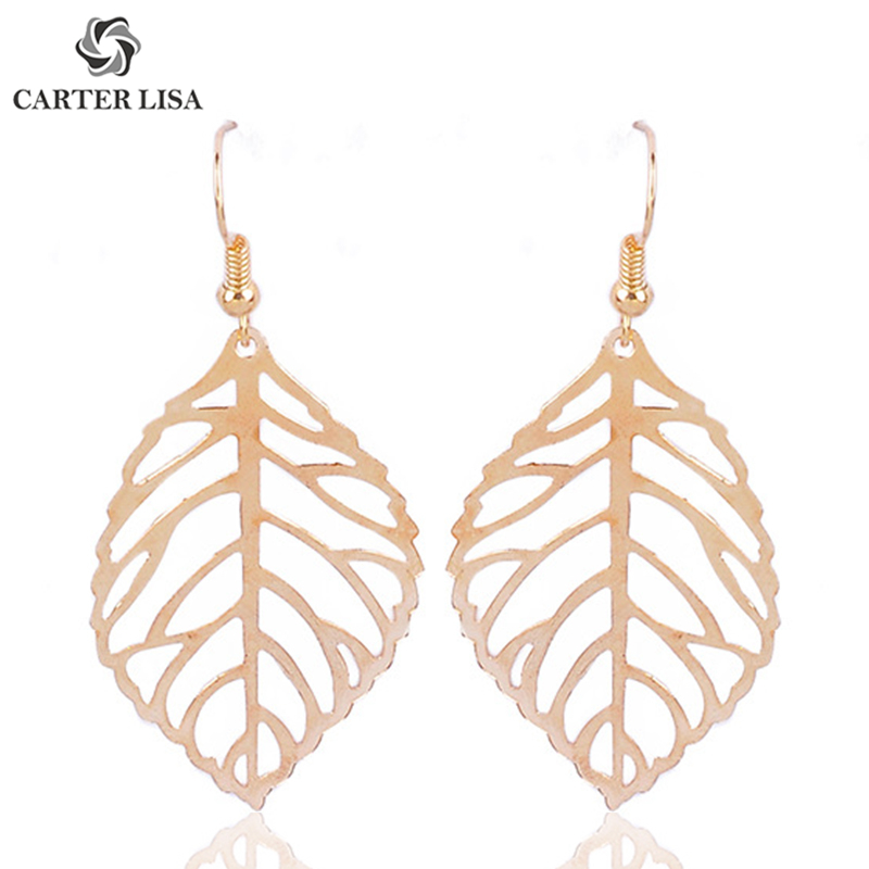 CARTER LISA Hollow Gold Silver Leaf Plant Drop Dangle Earings For Women Girl Fashion Jewelry Party Christmas Gifts Brincos