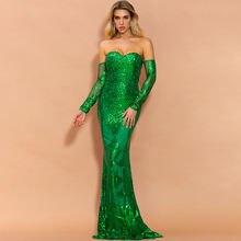 Женское платье с блестками для выпускного вечера Зеленое Длинное