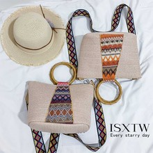 ISXTW 2019 New Fashion Womens Bag National Wind Canvas Shoulder Female Large Capacity Simple Printed Wild Handbag / D11