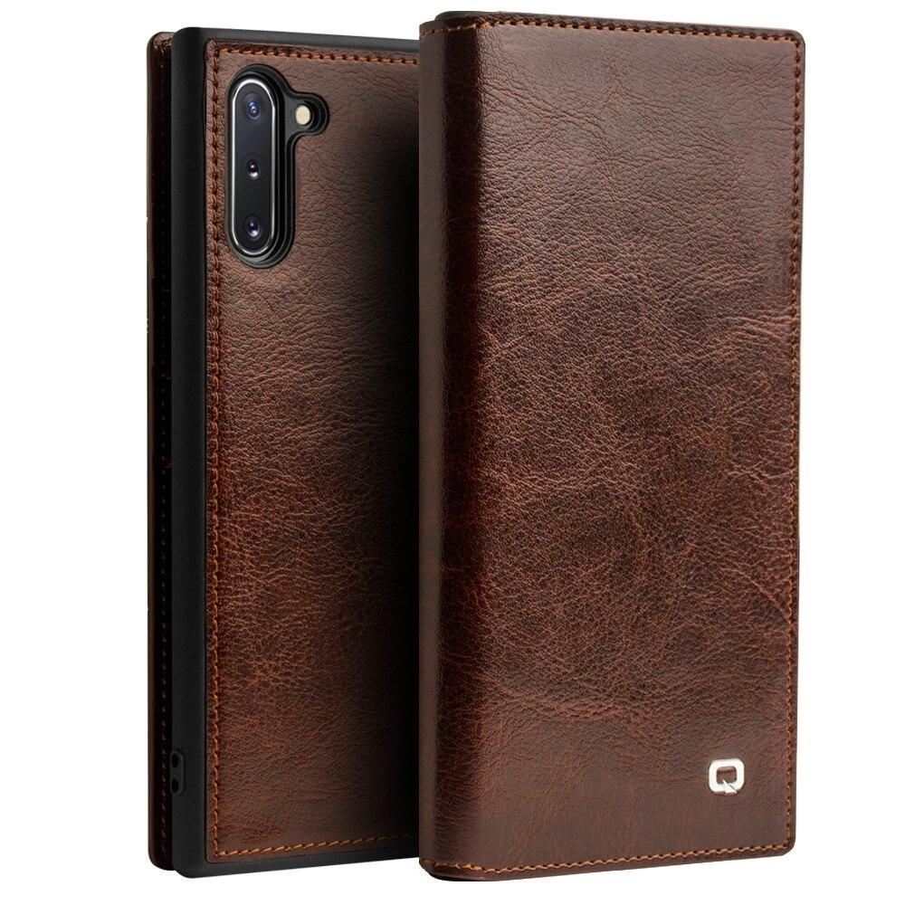 Retro Carteira Caso Slot para Cartão de Samsung Nota 10 Mais Caso High end Genuine Capa De Couro Para Samsung Galaxy Note 10 Plus 5G Capa